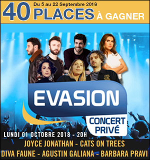 40 places à gagner pour le concert Evasion du 1er Octobre
